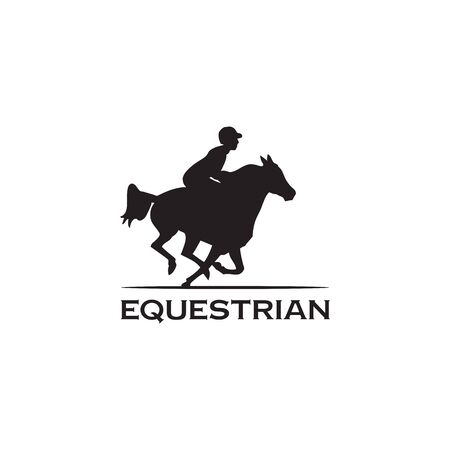 Equestrian logo design vector template illustration Illustration