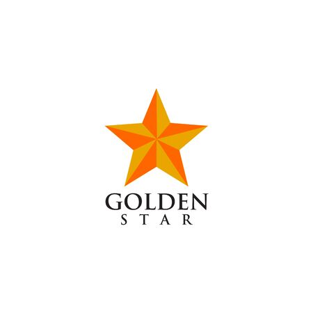 Golden star logo icon vector template illustration