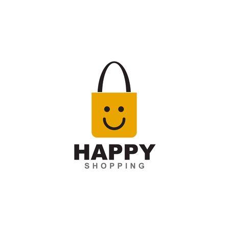 Happy shopping logo design with bag icon vector template
