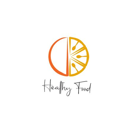 Healthy food emblem logo design vector template