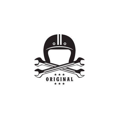 Helmet logo design vector template illustration
