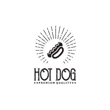 Hot dog restaurant logo design vector template illustration  イラスト・ベクター素材