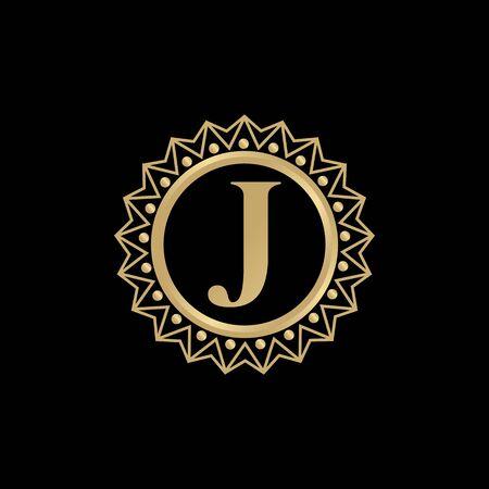 J letter initial logo design vector template illustration  イラスト・ベクター素材