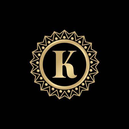K letter initial logo design vector template illustration