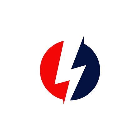 Emblem flash thunderbolt logo design vector template illustration