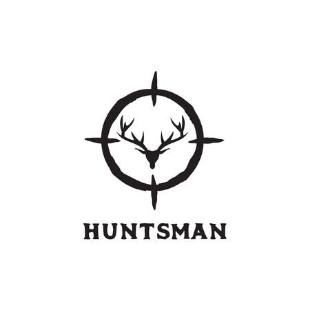 Hunter logo design with using deer head icon vector template illustration
