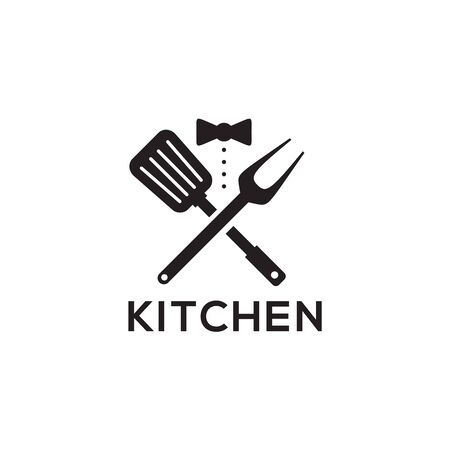 Kitchen logo design with using combination of spatula and tie waitress Illustration