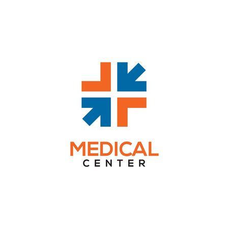 Medical center logo design with using combination of cross and arrow icon template illustration  イラスト・ベクター素材