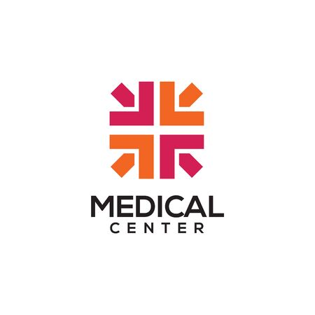 Medical center logo design with using combination of cross and arrow icon template illustration Illustration