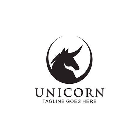 Unicorn mythological animal logo design vector template illustration