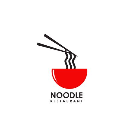 Noodle restaurant with bowl icon vector illustration template