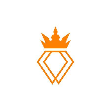 Diamond with crown logo design vector template illustration