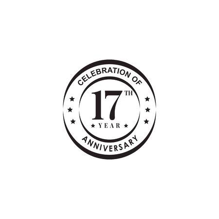 17th year celebrating anniversary emblem logo design vector template