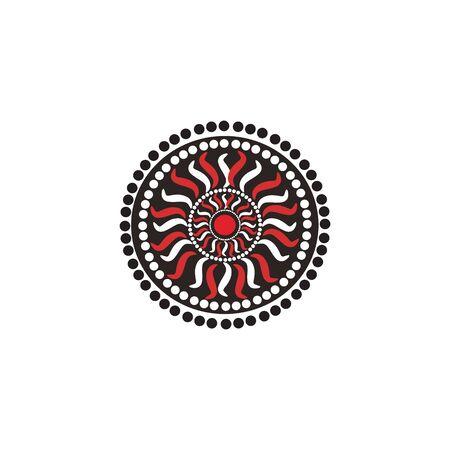 Aboriginal art dots painting icon logo design vector illustration template