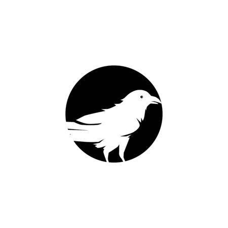 Raven bird icon logo design vector template