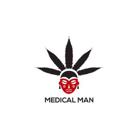Traditional Indian medical logo design with cannabis leaf and indian character logo template Vettoriali