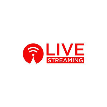 Live streaming text logo design vector template Logo