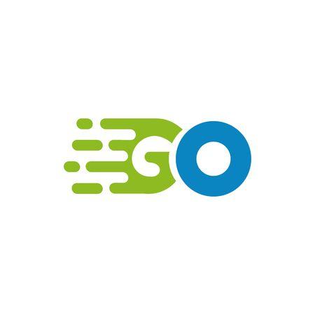 Go text speed icon logo design vector template Stock Illustratie