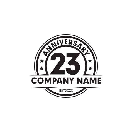 23rd anniversary logo design vector template Vettoriali