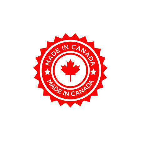 Emblem logo of Made in Canada product design label Ilustração