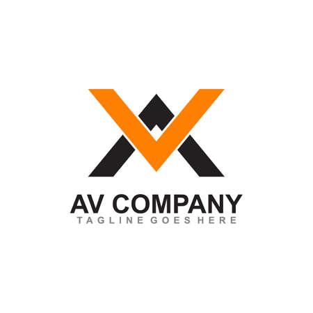 AV letter initial logo design vector template