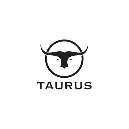 Taurus head logo design vector template