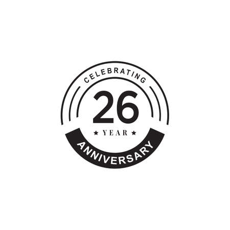 26th year anniversary emblem logo design vector template