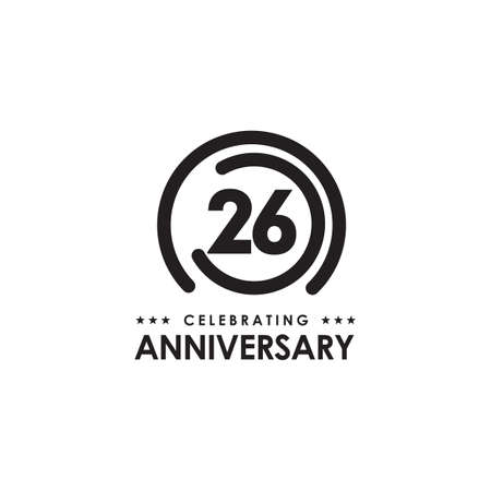 26th year anniversary emblem logo design vector template 写真素材 - 154083720