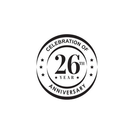 26th year anniversary emblem logo design vector template 写真素材 - 154084205
