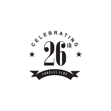 26th year anniversary emblem logo design vector template 写真素材 - 154084208