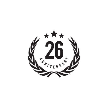26th year anniversary emblem logo design vector template 写真素材 - 154084213