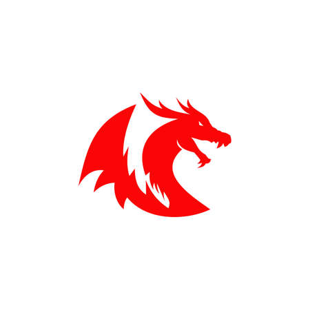 Dragon animal logo design vector template