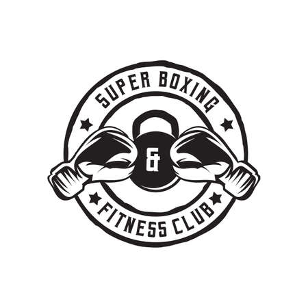 Boxing and gym club logo design vector template