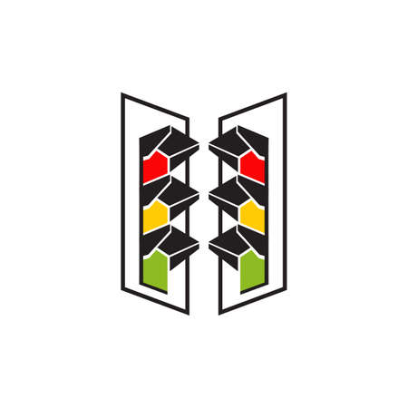 traffic light logo design vector template  イラスト・ベクター素材