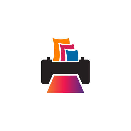 Printer icon logo design vector template  イラスト・ベクター素材