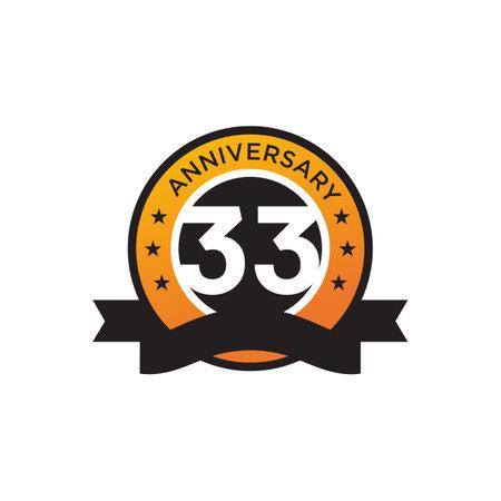 33th year anniversary logo design vector template