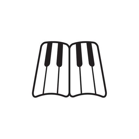 Piano keyboard logo design vector template