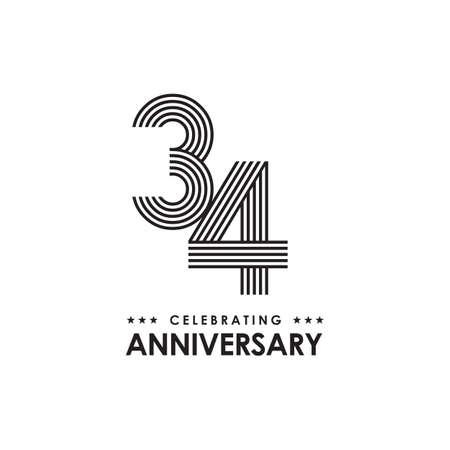 34th year celebrating anniversary logo design vector template Иллюстрация