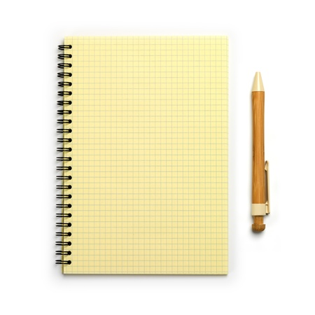 Open Notebook and pen  Top view  Isolated on a white Stock Photo - 20078781