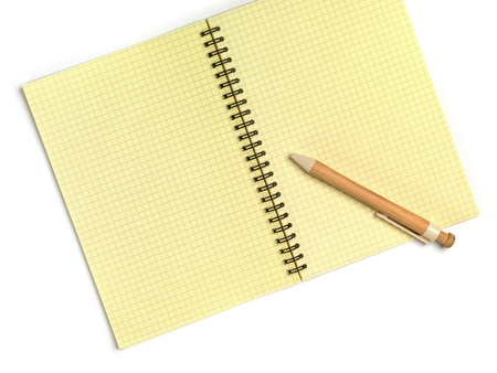Open Notebook and pen  Top view  Isolated on a white  photo