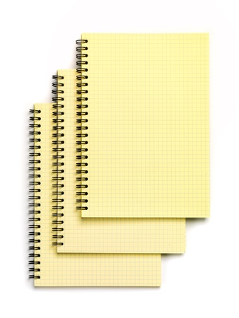 Three Notebooks  Top view  Isolated on a white Stock Photo - 20078779