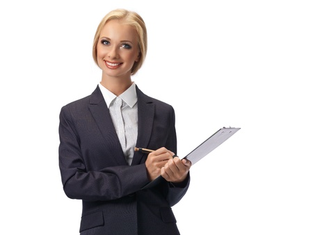 Attractive blond business woman wearing glasses photo