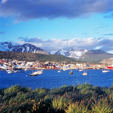 snowcapped: Ushuaia with snowcapped mountains, Argentina Stock Photo