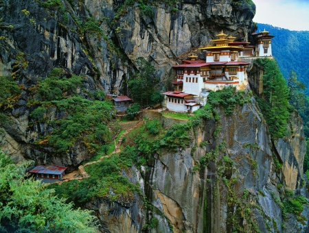 Himalaya, Tibet, Bhutan, Paro Taktsan, Taktsang Palphug Monastery ook wel bekend als The Tiger Stockfoto