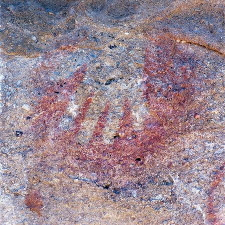 manos: Cave paintings in the Cueva de las Manos, El Calafate  near Lake Argentina , Santa Cruz province, Argentina Stock Photo