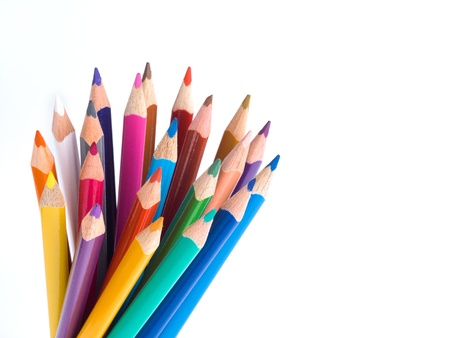 Color pencils bunch on white background photo