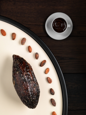Cocoa pod, cocoa beans and hot chocolate, still life Stock Photo