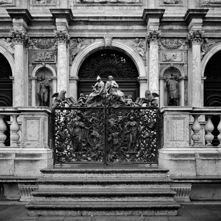 Italy Venice forged iron gates to campanile photo