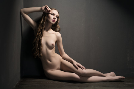 nude: Graceful sitting nude girl over dark background