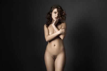 Sexy body nude woman. Naked sensual beautiful girl. Artistic  photo. Stock Photo